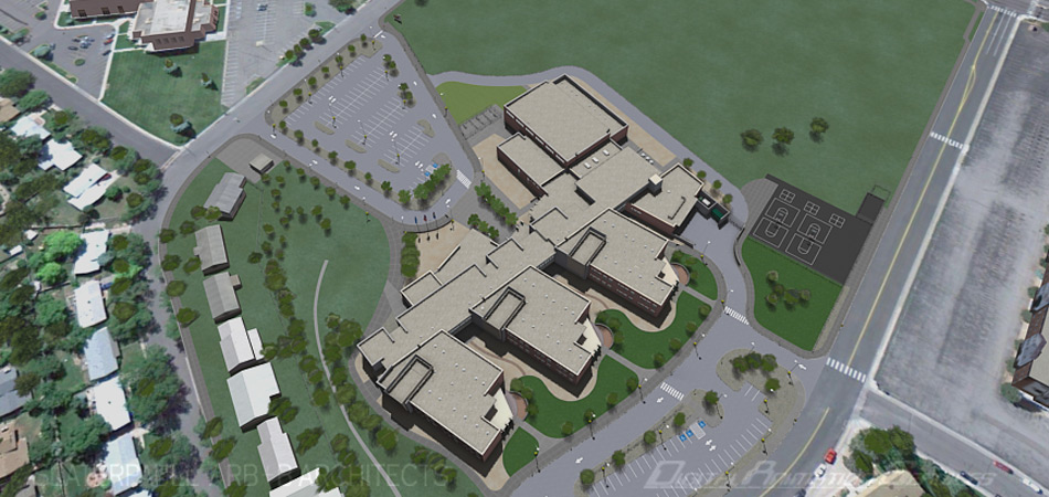 Project: Aurora Hills Middle School visualization. Architecture by SlaterPaull Architects